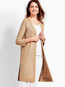 Textured Linen Roll-Tab Long Duster - Metallic