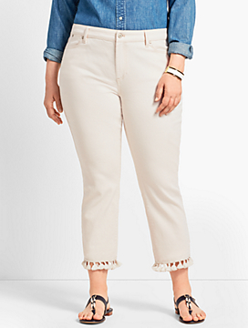 Tassel Hem Denim Straight Crop- Natural