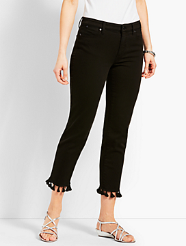 Tassel Hem Denim Straight Crop - Black