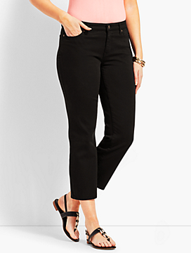 Black Denim Straight Leg Crop - Curvy Fit