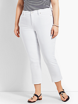 Womans Exclusive Denim Straight Leg Crop - White