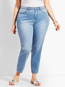 Plus Size Exclusive Denim Slim Ankle Jean - Curvy Fit/Beach Glass