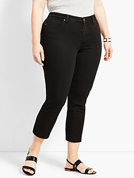 Womans Exclusive Denim Straight Leg Crop - Black