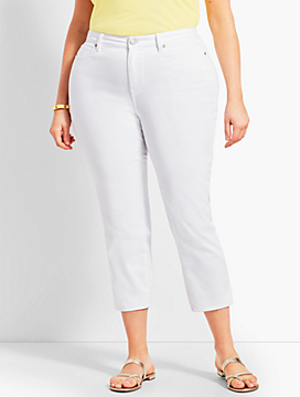 Womans Exclusive Denim Straight Leg Crop - Curvy Fit/White