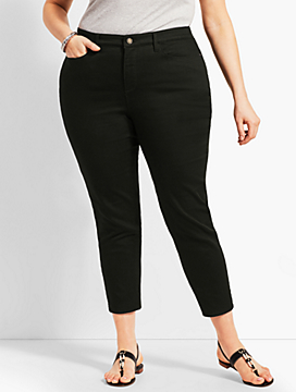 Womans Exclusive Denim Crop Jegging - Curvy Fit/Black