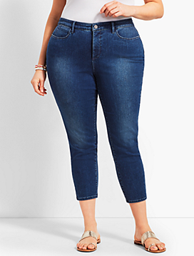 Plus Size Exclusive Denim Crop Jegging - Curvy Fit/Blue Diamond Wash