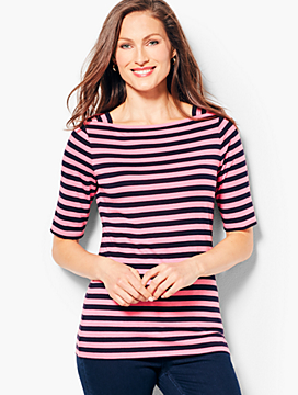 Envelope-Neck Tee - Stripe