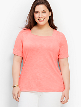Roll-Cuff Square-Neck Tee