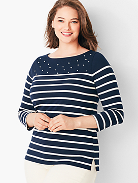 Stripe Pearl-Embellished Cotton Top