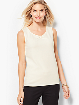 Crepe Knotted-Neckline Shell