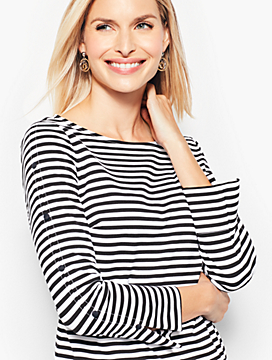 Slit-Sleeve Tee - Stripe