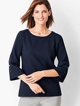 Bateau-Neck Knit Top - Solid
