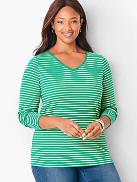 Long-Sleeve V-Neck Tee - Stripe