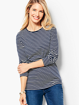 Long-Sleeve Cotton Crewneck - Stripe