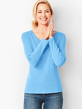 Long-Sleeve V-Neck Tee - Solid