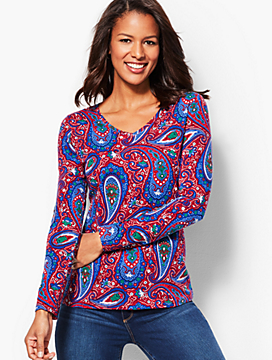 Long-Sleeve V-Neck Tee - Lively Paisley