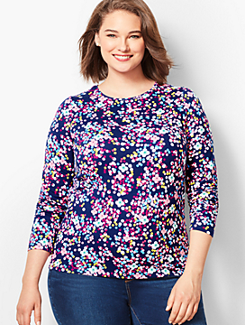 Novelty Long-Sleeve Crewneck - Dotted Floral