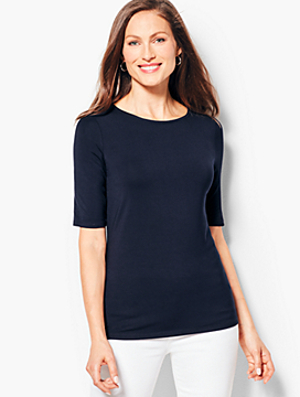 Refined Elbow-Length Sleeve Tee