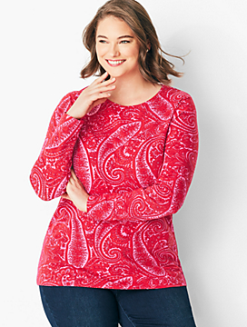 Long-Sleeve Cotton Crewneck - Cocktail Paisley