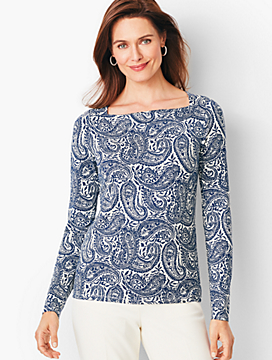 Refined Envelope-Neck Tee - Paisley
