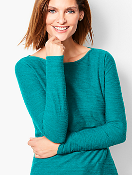 Long-Sleeve Bateau-Neck - Braided Stripe Heathered