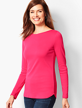 Long-Sleeve Bateau-Neck - Solid
