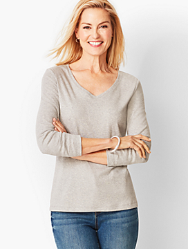 Long-Sleeve V-Neck - Heathered