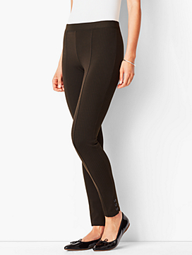 Ankle-Snap Ponte Leggings - Check