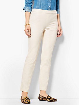 Talbots Chatham Ankle Pants-Ivory Button-Hem