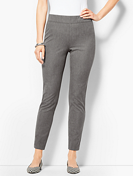 Bi-Stretch Pull-On Ankle Pants- Melange