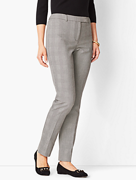 Bi-Stretch High-Waist Straight-Leg Pant - Plaid