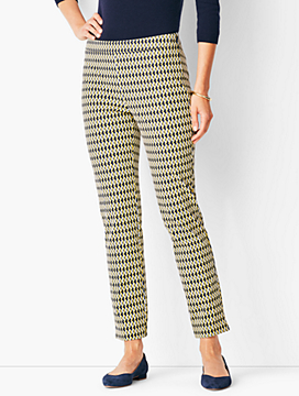 Talbots Chatham Ankle Pants - Butterscotch Oval Print