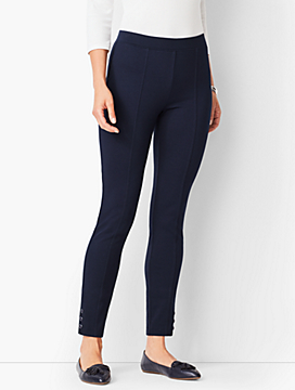 Ankle-Snap Ponte Leggings - Solid