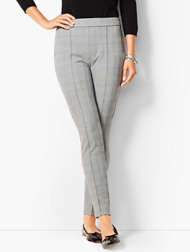 High Waist Bi-Stretch Skinny Ankle Pants - Check