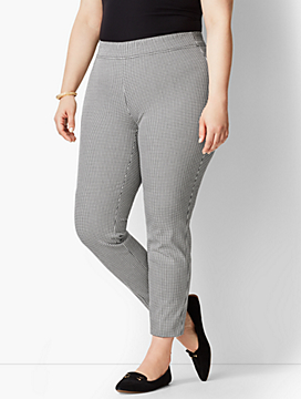 Cotton Bi-Stretch Pull-On Skinny Ankle Pant-Mini Check