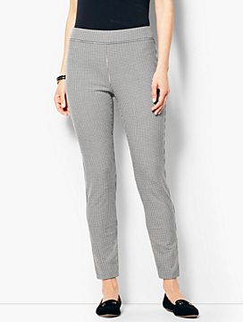 Bi-Stretch Pull-On Ankle Pants-Check
