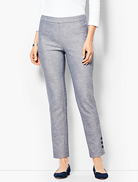 Talbots Chatham Ankle Pants - Sharkskin Button-Hem