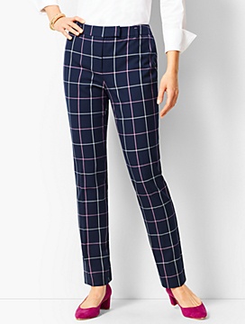 Bi-Stretch High Waist Straight Leg Pant- Plaid