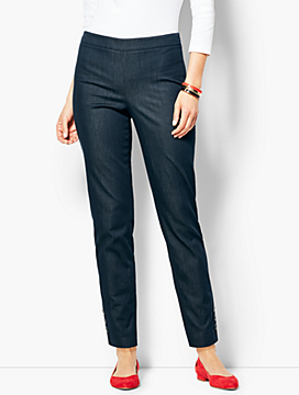 Talbots Chatham Ankle Pants- Polished Denim Button-Hem