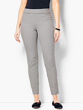 Cotton Bi-Stretch Pull-On Skinny Ankle Pant - Curvy Fit/Mini Check