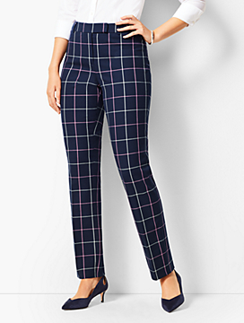 Bi-Stretch High Waist Straight Leg Pants- Curvy Fit/Plaid