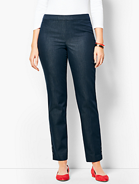 Talbots Chatham Button Ankle Pant - Curvy Fit/Denim