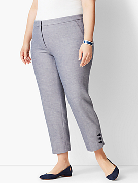 Plus Size Talbots Hampshire Ankle Pants - Sharkskin Button-Hem