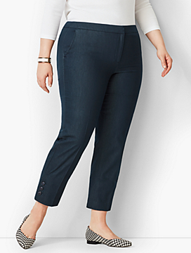 Plus Size Talbots Hampshire Ankle Pants - Polished Denim Button-Hem