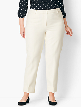 Plus Size High-Waist Tailored Ankle Pant - Lined/Ivory