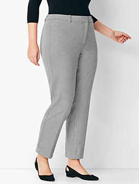 Plus Size High-Waist Tailored Ankle Pant - Dobby
