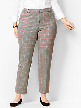 Plus Size High-Waist Tailored Ankle Pants -  Cottage Plaid