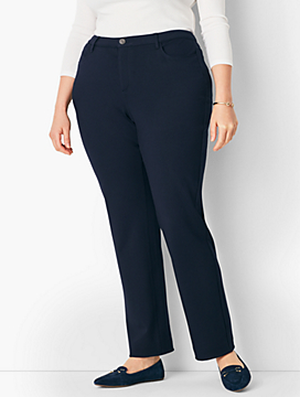 Plus Size High-Rise Straight-Leg Pant - Curvy Fit/Ponte