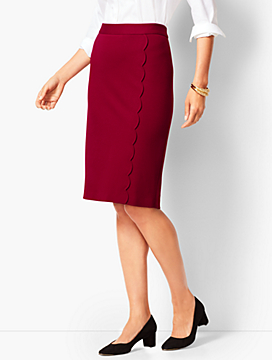 Ponte Scallop Wrap Pencil Skirt