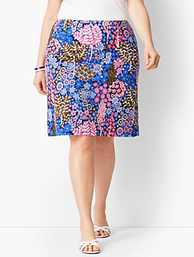 Blooming Botanical A-Line Twill Skirt